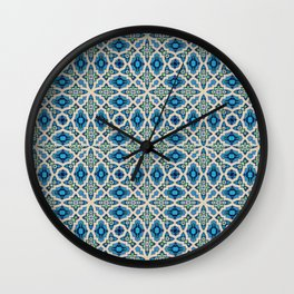 Boho Moroccan Tiles in blue Wall Clock