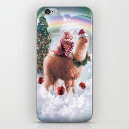 Christmas Rainbow Llama - Cat Llama iPhone Skin