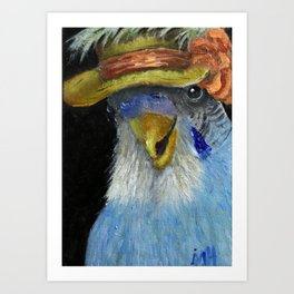 Parakeet Hat Parade #1 Amelia Art Print