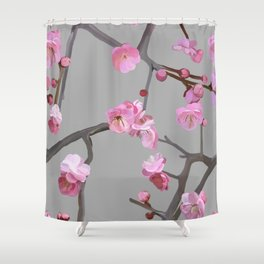 Plum blossom pattern grey Shower Curtain