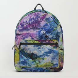 Abstract Expressionistic Batik in Blues, Violets, and Green Backpack