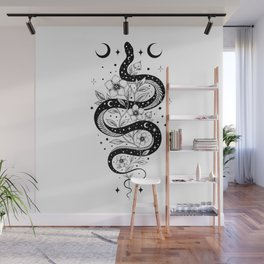 Serpent Spell -Black and White Wall Mural