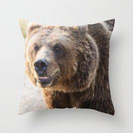 Brown bear baring his teeth at the Wild Animal Sanctuary near Keenesburg Colorado Throw Pillow