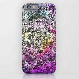 Floral mandala handdrawn pink nebula watercolor iPhone Case