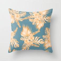 Hawaiian Hibiscus Palm Orange Teal Blue Throw Pillow