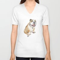 bulldog V-neck T-shirts featuring bulldog  by Laura Graves