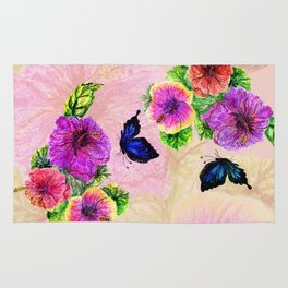 Painting of hibiscus Rug