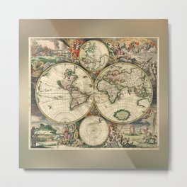 Old map of world hemispheres (enhanced) Metal Print