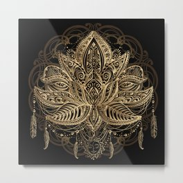 Lotus Black & Gold Metal Print