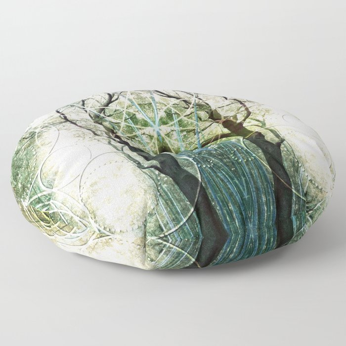 Bamboo Forest Geometry Floor Pillow