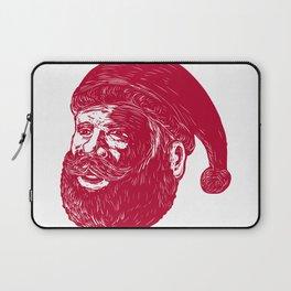 Santa Claus Head Woodcut Laptop Sleeve