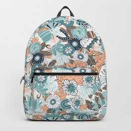 Whimsical Blue and Orange Floral Backpack