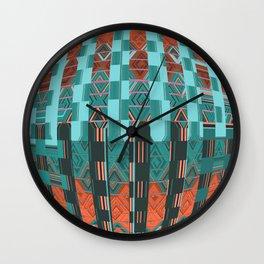 Aqua Blue Geometric Glitch Pattern Wall Clock