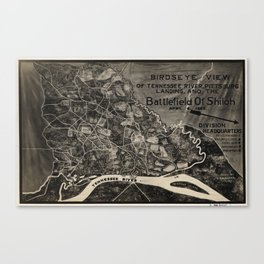 Vintage Map of The Shiloh Battlefield (1917) Canvas Print