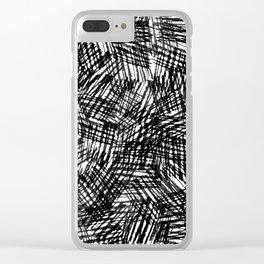 Grunge Cross Hatch Texture , Bold Monochrome in Black & White Clear iPhone Case