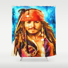 Portrait of Johnny Depp  as Jack Sparrow Shower Curtain
