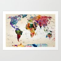 retro Art Prints featuring map by mark ashkenazi