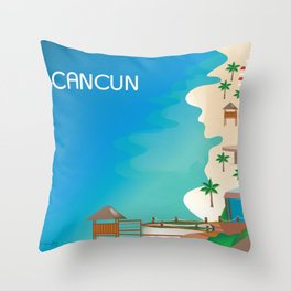 Cancun, Mexico - Skyline Illustration by Loose Petals Throw Pillow