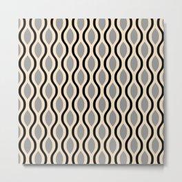 Retro Ogee Pattern 447 Black Beige and Gray Metal Print