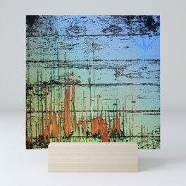 Blue cracked wood Mini Art Print