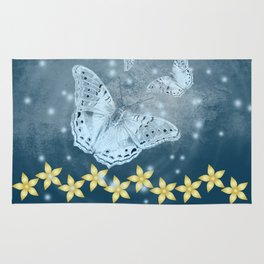 Mysterious butterflies in blue with gold flowers Rug