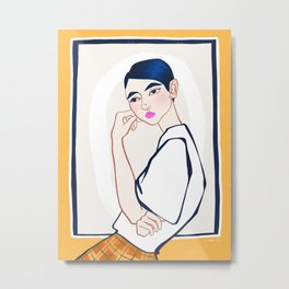 Girl at the gallery - Metal Print