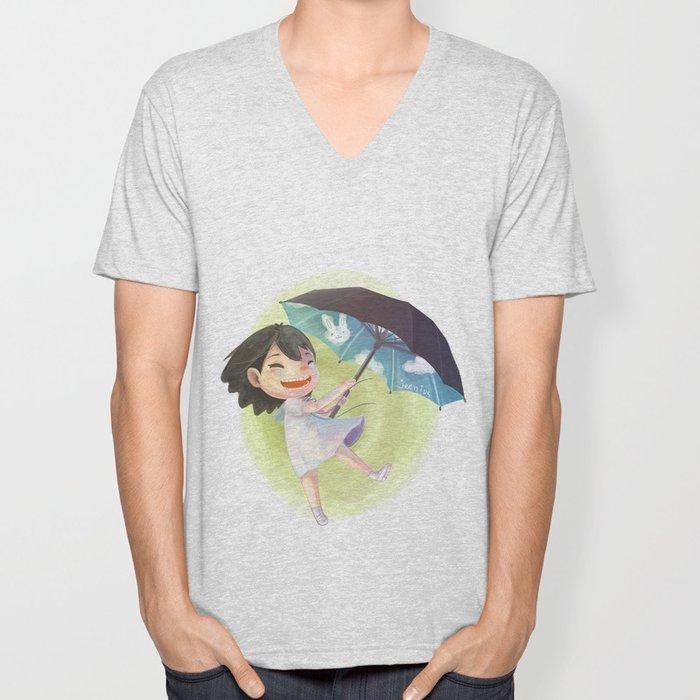 Umbrella Sky Unisex V-Neck
