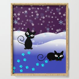 Glow in the Dark Xmas Cats Serving Tray