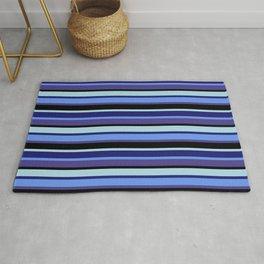 Light Blue, Midnight Blue, Cornflower Blue, Dark Slate Blue & Black Colored Striped/Lined Pattern Rug
