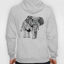 Tribal Elephant Black and White Version Hoody