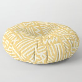 Mudcloth in yellow ochre Floor Pillow