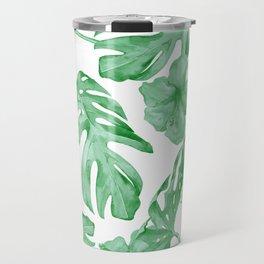 Tropical Island Leaves Green on White Travel Mug