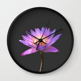 Purple Lotus Flower Geometric style Wall Clock