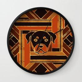 Art Deco Rottweiler dog Wall Clock