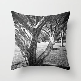 Row of trees in black and white Throw Pillow