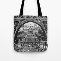 eiffel tower Tote Bags featuring eiffel tower by AnnaGo