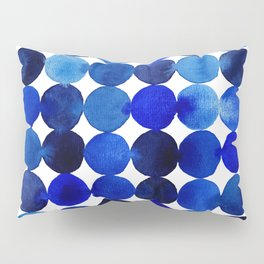 Blue Circles in Watercolor Pillow Sham
