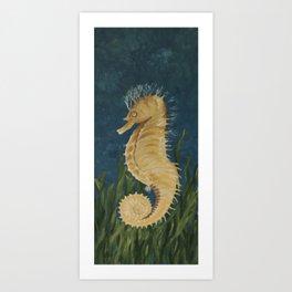Yellow Longsnout Seahorse Art Print
