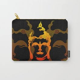 Illustration Buddha Head orange black design Carry-All Pouch