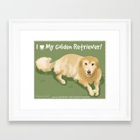 golden retriever Framed Art Prints featuring Golden Retriever by Bark Point Studio