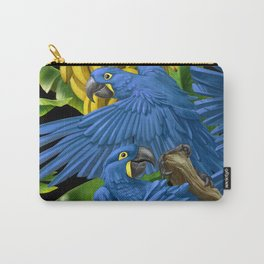 Hyacinth Macaws and bananas Stravaganza (black background). Carry-All Pouch
