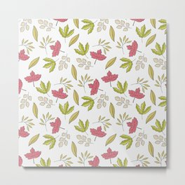 Pink green ivory hand painted autumn leaves pattern Metal Print