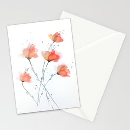Orange and Peach Delicate Flowers in Watercolor Stationery Cards