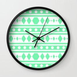 Mint Tribal Pattern Wall Clock