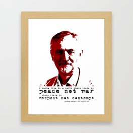 Jeremy Corbyn - peace not war Framed Art Print