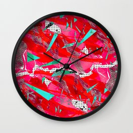 Groovy Red & Pink Wall Clock