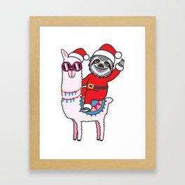 Sloth Llama Framed Art Print