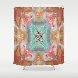 Fractal Art- Mint Art-Coral Art- Juorbin- Sacred Geometry Shower Curtain