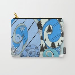 Whimsical Christmas Trees In Beachy Blues Carry-All Pouch
