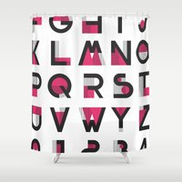 alphabet Shower Curtains featuring Alphabet by Isthar Marcon